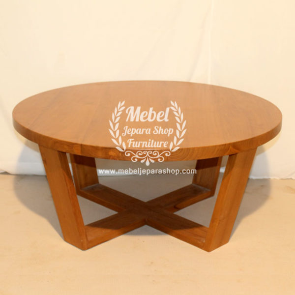 Coffee Table Minimalis Kayu jati bundar