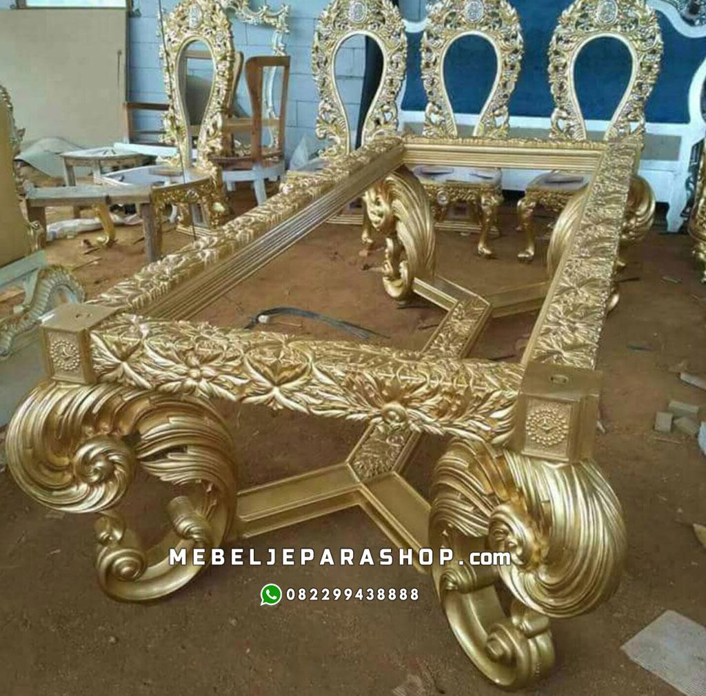 meja makan ukir mewah jepara gold 2019