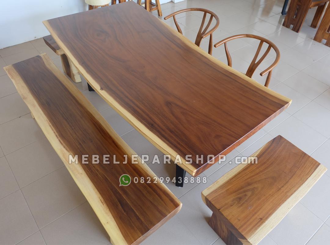 meja makan kayu utuh trembesi