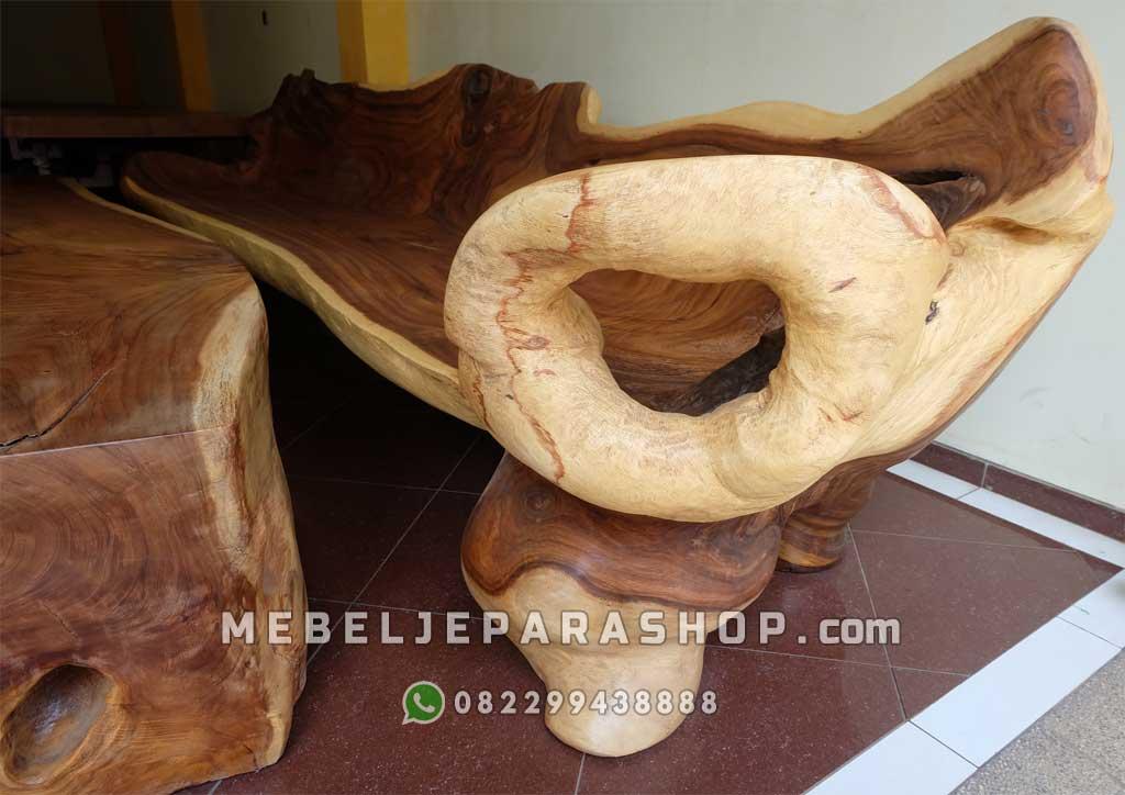 bangku kayu asli utuh besar