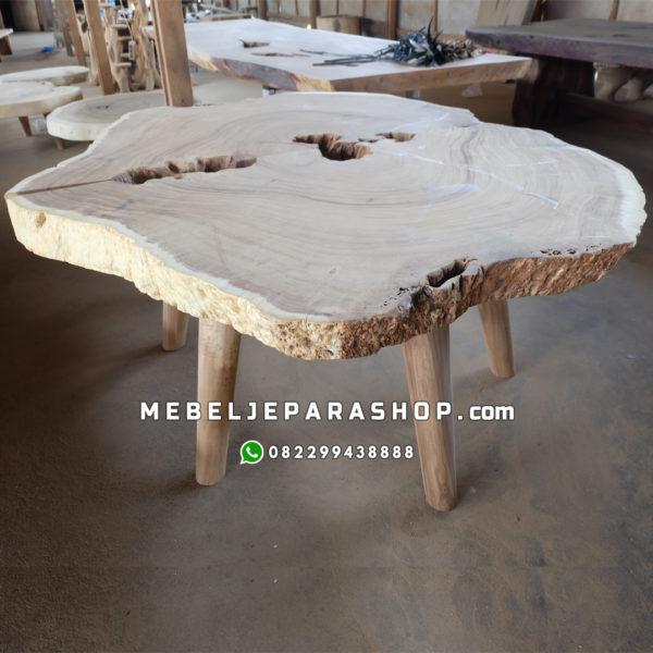 meja bundar kayu alami antik