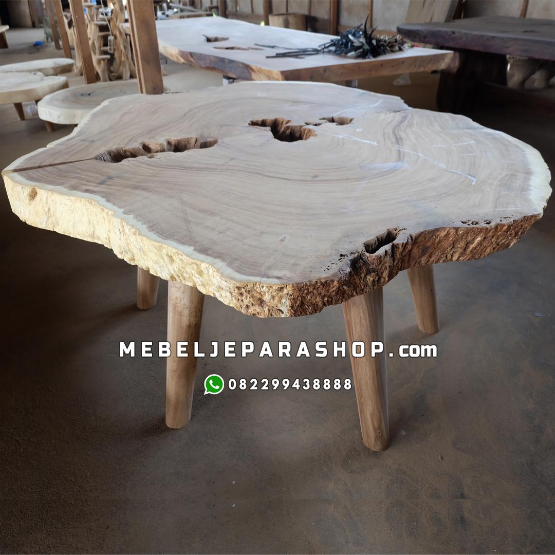 jual meja bundar kayu alami erosi