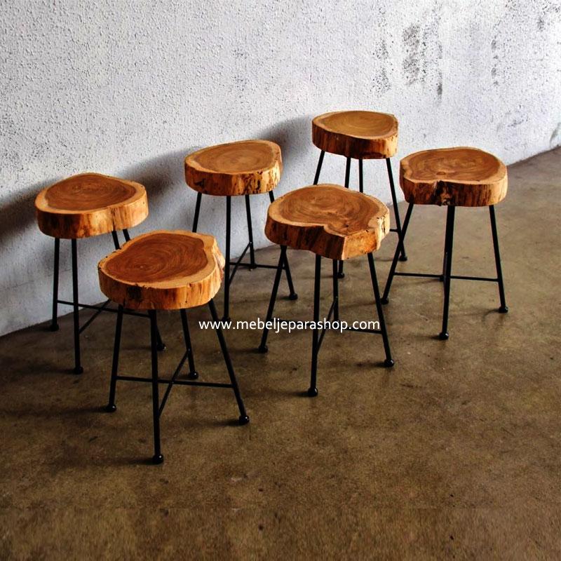 kursi industrial stool potongan kayu jati