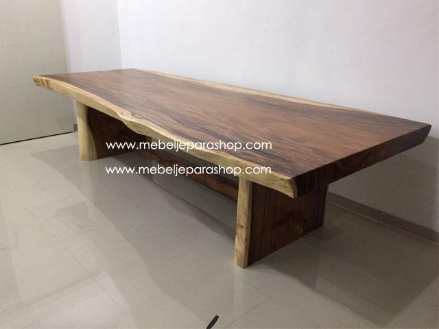 meja meeting kayu trembesi besar jumbo