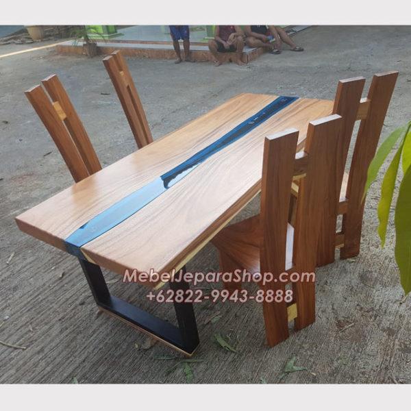 meja kayu river flow kaca