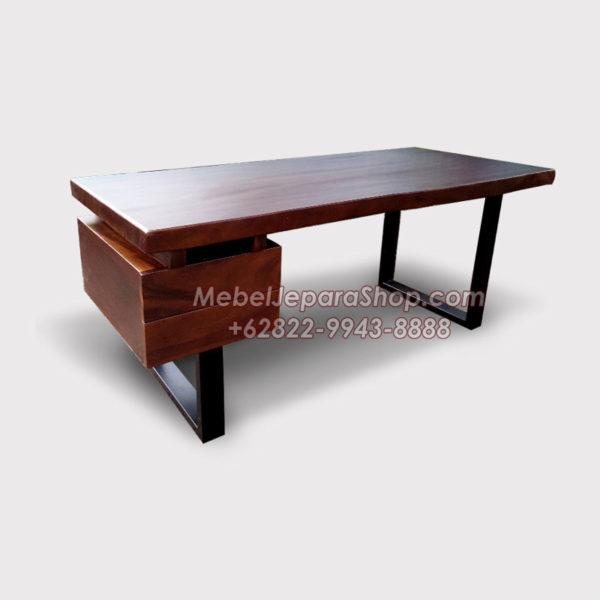 meja kantor kayu solid trembesi