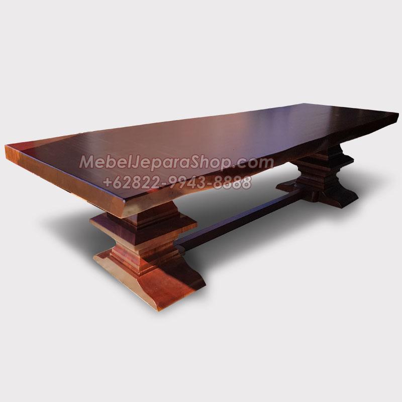 meja trembesi panjang kaki model pilar tiang