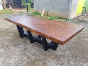 meja rapat kayu solid trembesi