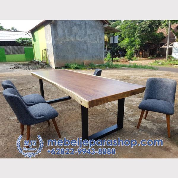 meja makan kayu trembesi minimalis modern