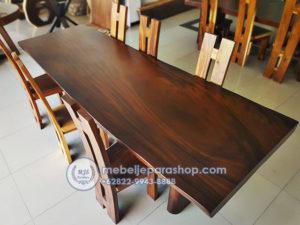 meja kayu utuh trembesi panjang
