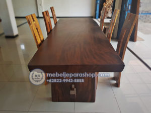 meja kayu solid trembesi panjang