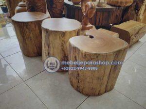 Kursi Stool Potongan Kayu Jati Antik Utuh