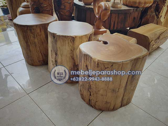 Kursi Stool Potongan Kayu Jati Antik Log Mebel Jepara Shop